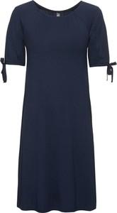 Granatowa sukienka bonprix RAINBOW midi z krótkim rękawem