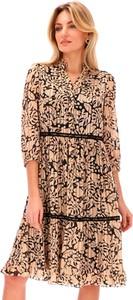 Brązowa sukienka L'AF w stylu casual z tkaniny
