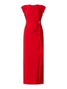 Czerwona sukienka Ralph Lauren maxi z krótkim rękawem
