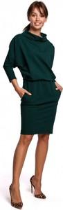 Zielona sukienka Be z długim rękawem mini