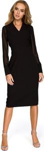 Sukienka Style midi z dekoltem w kształcie litery v z długim rękawem