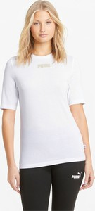 T-shirt Puma z zamszu z okrągłym dekoltem z krótkim rękawem