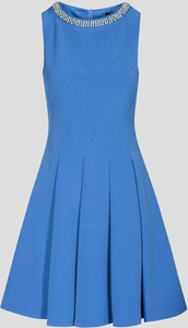 Niebieska sukienka ORSAY bez rękawów z tkaniny z okrągłym dekoltem