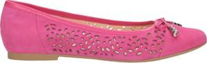 Różowe baleriny Wojas ze skóry z płaską podeszwą