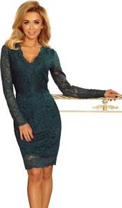 Sukienka NUMOCO dopasowana z długim rękawem z dekoltem w kształcie litery v