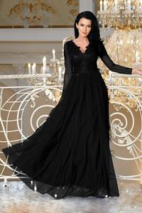 Sukienka Ptakmoda.com rozkloszowana z długim rękawem maxi