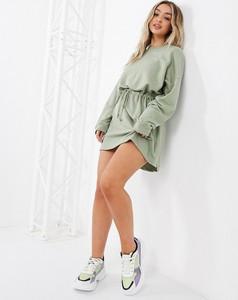 Zielona sukienka Missguided mini z dresówki z długim rękawem