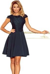 Niebieska sukienka NUMOCO midi z krótkim rękawem rozkloszowana