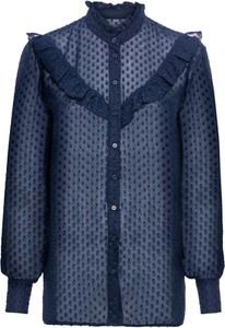 Niebieska bluzka bonprix BODYFLIRT ze stójką w stylu boho z długim rękawem