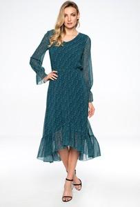 Zielona sukienka Lavard midi z okrągłym dekoltem