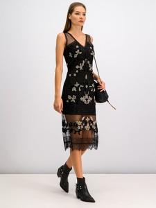 Czarna sukienka Twinset midi bez rękawów z dekoltem w kształcie litery v