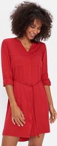 Czerwona sukienka House z długim rękawem w stylu casual mini