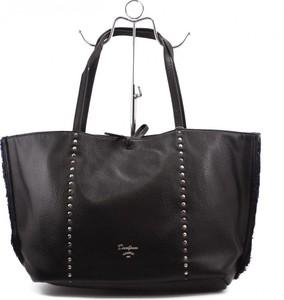 Czarna torebka David Jones ze skóry ekologicznej zdobiona