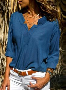 Bluzka Sandbella z bawełny z dekoltem w kształcie litery v z długim rękawem