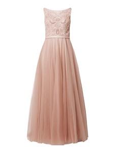 Różowa sukienka Mascara maxi bez rękawów rozkloszowana