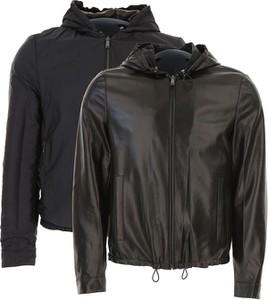 Czarna kurtka Prada ze skóry w stylu casual
