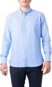 Niebieska koszula Hydra Clothing z długim rękawem z kołnierzykiem button down