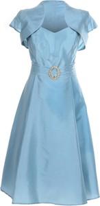 Niebieska sukienka Fokus rozkloszowana z tiulu