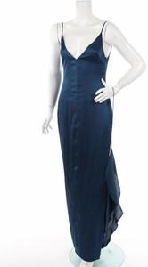 Niebieska sukienka Lexy z dekoltem w kształcie litery v maxi