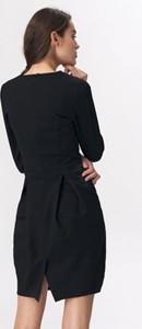 Czarna sukienka Nife z długim rękawem tulipan z okrągłym dekoltem