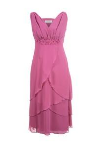 Różowa sukienka Fokus z dekoltem w kształcie litery v midi