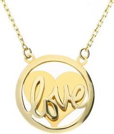 Lovrin Złoty naszyjnik 585 serduszko z Love prezent