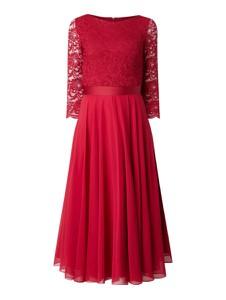 Czerwona sukienka Swing z długim rękawem z okrągłym dekoltem