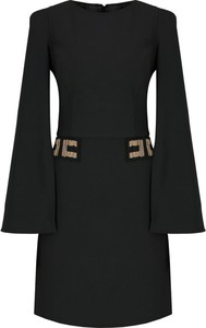 Czarna sukienka Elisabetta Franchi mini z długim rękawem w stylu casual