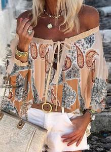 Bluzka Sandbella z długim rękawem w stylu boho hiszpanka