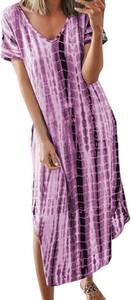 Fioletowa sukienka Cikelly z dekoltem w kształcie litery v maxi