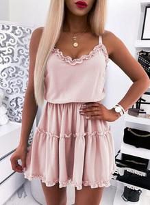Różowa sukienka Cikelly na ramiączkach mini z dekoltem w kształcie litery v