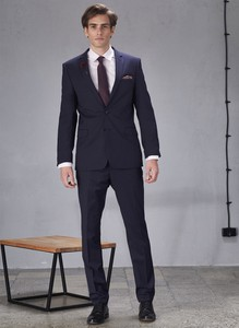 Granatowe spodnie Pako Lorente z tkaniny
