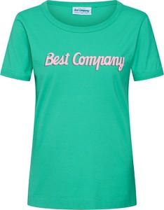 Zielona bluzka Best Company z krótkim rękawem z dżerseju