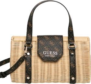 Brązowa torebka Guess w wakacyjnym stylu ze skóry na ramię