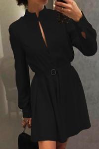 Sukienka Ivet.pl z długim rękawem rozkloszowana z kołnierzykiem