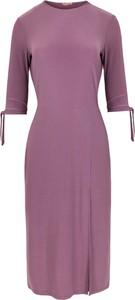 Fioletowa sukienka Makover z dzianiny z długim rękawem