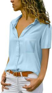 Niebieska bluzka Sandbella z kołnierzykiem