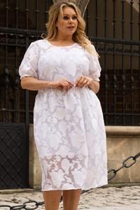 Sukienka KARKO mini z tkaniny z okrągłym dekoltem