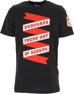 Granatowa koszulka dziecięca Dsquared2 z bawełny z krótkim rękawem
