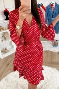Czerwona sukienka Ivet.pl z dekoltem w kształcie litery v w stylu casual