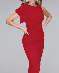 Czerwona sukienka Kendallme z krótkim rękawem ołówkowa