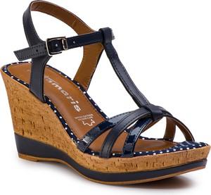 Czarne sandały Tamaris ze skóry ekologicznej z klamrami