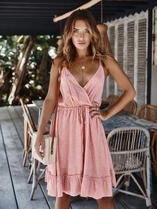 Różowa sukienka Coconut Sunwear z bawełny mini na ramiączkach