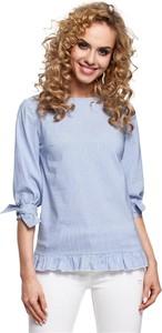 Niebieska bluzka Merg w stylu casual z dekoltem w łódkę