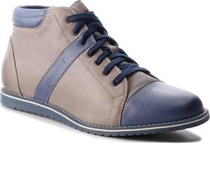 Buty zimowe Gino Rossi w stylu casual ze skóry ekologicznej sznurowane