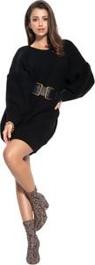 Czarna sukienka Fobya z długim rękawem w stylu casual