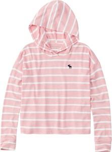 Różowa bluza dziecięca Abercrombie & Fitch w paseczki