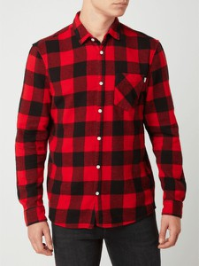 Czerwona koszula Review z długim rękawem z bawełny z klasycznym kołnierzykiem