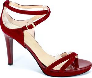 Czerwone sandały Sala ze skóry na szpilce