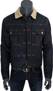 Granatowa kurtka Wrangler w stylu casual z jeansu